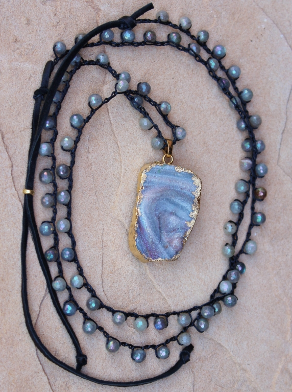 Crocheted Necklace of Labradorite Gemstone Beads and Gold Druzy Pendant