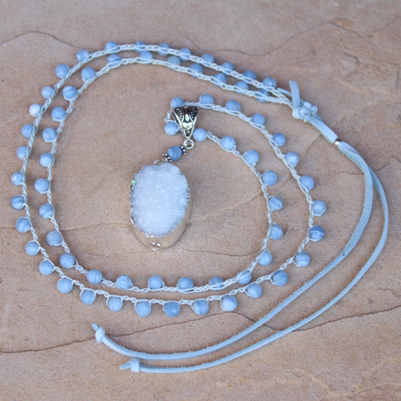 Crocheted Necklace of Blue Lace Agate Gemstone Beads and White Gold Druzy Pendan