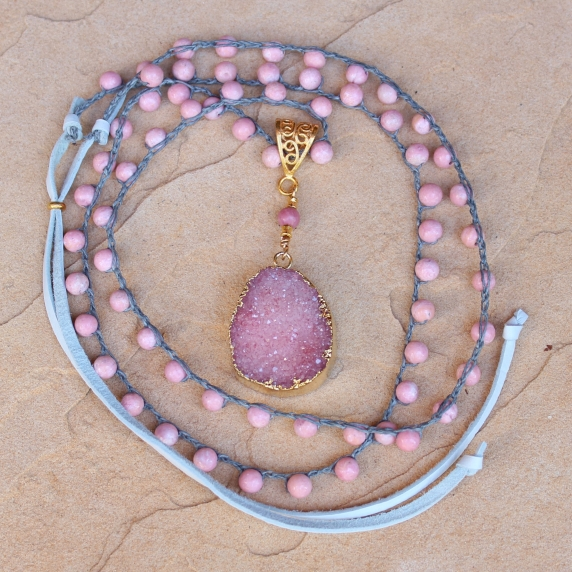 Crocheted Necklace of Pink Opal Gemstone Beads and Gold Druzy Pendant