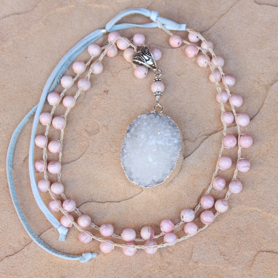Crocheted Necklace of Pink Opal Gemstone Beads and White Gold Druzy Pendant