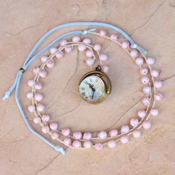 Crocheted Necklace of Pink Opal Gemstone Beads and Bronze Clock Pendant