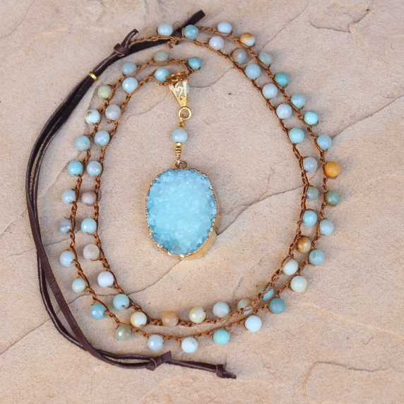 Crocheted Necklace of Amazonite Beads and White Gold Druzy Pendant