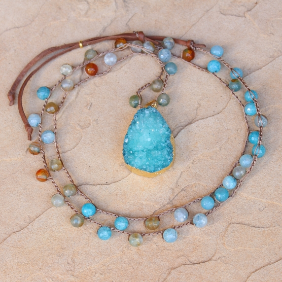 Crocheted Necklace of Aqua Agate Beads and Gold Druzy Pendant
