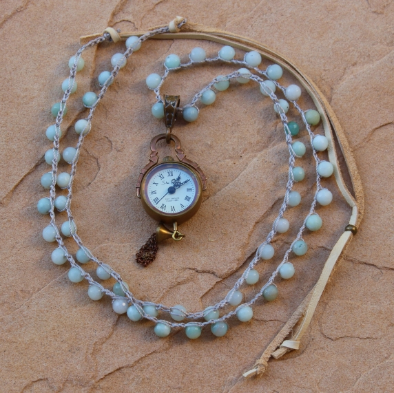Crocheted Necklace of Amazonite Beads and Bronze Mechanical Clock Pendant