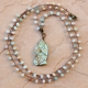 Crocheted Necklace of Amazonite Beads with Pendant