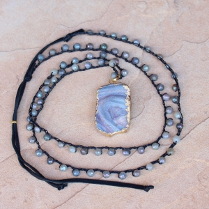 Crocheted Neckalce of Labradorite Gemstone Beads and White Gold Druzy Pendant
