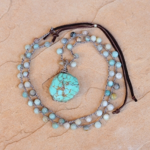 Crocheted necklace of Amazonite beads and Kingman American Turquoise Pendant