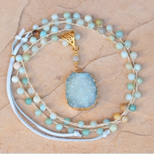 Crocheted Necklace of Amazonite Beads and Gold Duzy Pendant