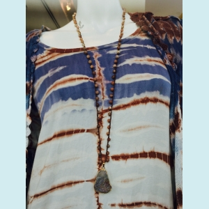 Crocheted necklace of moonstone beads and druzy pendant