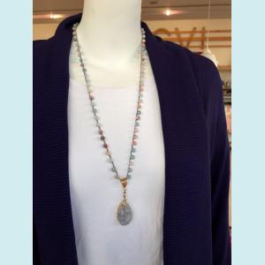 Felicia Necklace with Druzy Pendant