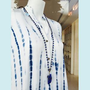 Hand crocheted necklace of Lapis Lazuli gemstone beads