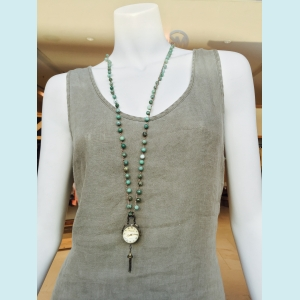 Felicia - Crocheted necklace of moss opal gemstone beads and a brass clock pendant