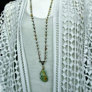 Hand Crocheted Necklace - Amazonite and Turquoise