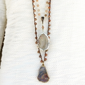 Crocheted Necklaces of Moonstone Beads and Druzy Pendants